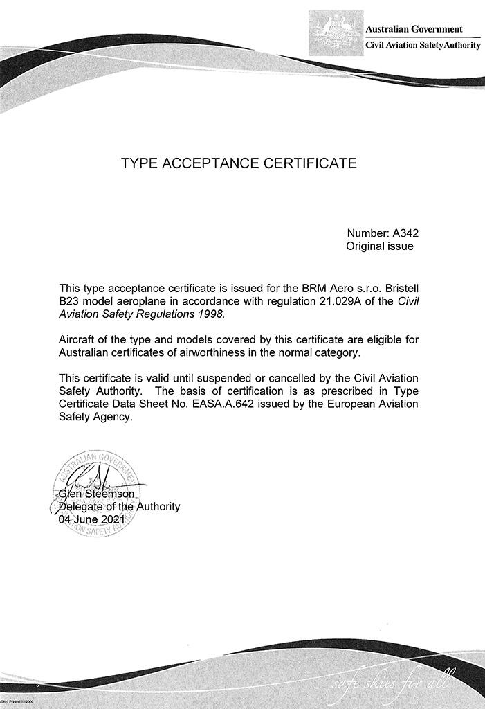 Type acceptance certificate BRISTELL B23 Australia